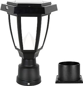 FUDESY LED Outdoor Solar Post Light Fixture,Plastic Black Post Lamp Lantern for Garden Post Pole Mount Landscape Yard Pathway Deck, FDS1761PCS