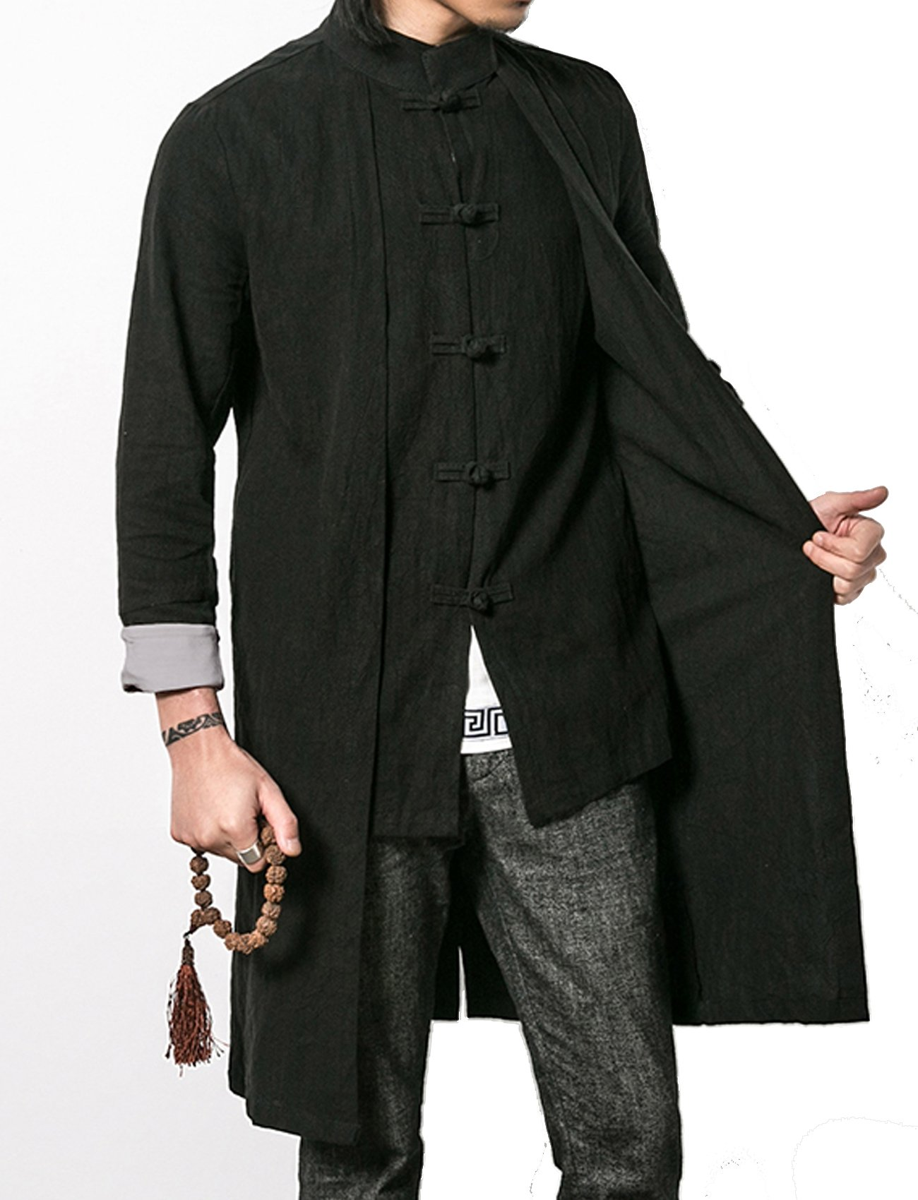 S&S-Men Vintage Linen Mandarin Collar Frog Button Chinese Style Long Trench Coat