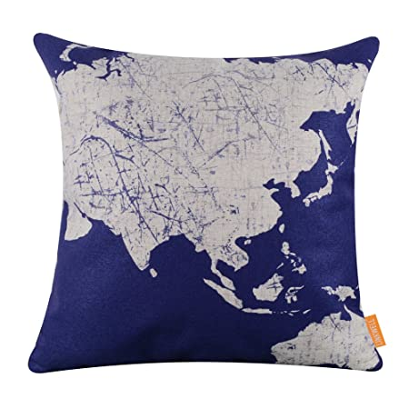Linkwell 18x18 bright color blue asian australian world map linkwell 18quotx18quot bright color blue asian australian world map cushion gumiabroncs Images