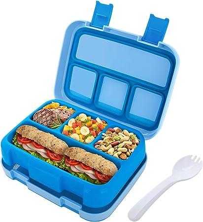 Jelife Fiambrera Infantil con 4 Compartimentos Caja de Almuerzo y Merienda para Niños con Cuchara Recipiente de Almacenamiento de Alimentos para Escuela Excursion Viaje Familiar (Azul): Amazon.es: Hogar