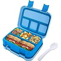 Jelife Fiambrera Infantil con 4 Compartimentos bento con Cubiertos y Cuchara Caja de Almuerzo Lunchbox para Niños…