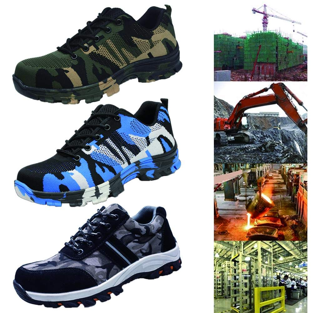 Niome Steel Toe Shoes Indestructible Puncture-Proof Protection with Lace-up Camouflage for Welding Insulation Construction Work Men Women Blue & 35 by Niome (Image #3)