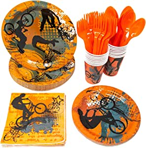 Blue Orchards Extreme Party Supplies Packs (113+ Pieces for 16 Guests!), BMX Party Supplies, Skateboarding, Bike