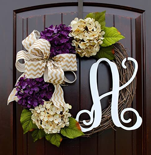Amazon.com: Hydrangea Monogram Letter Wreath with Two Bow Options