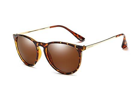 Mondpalast MPTECK @ Gafas de Sol Mujer Polarizadas clásico polarizado UV 400 Protección Marrón Té con Leopardo Marco de Metal Gafas de Sol con el Caso ...
