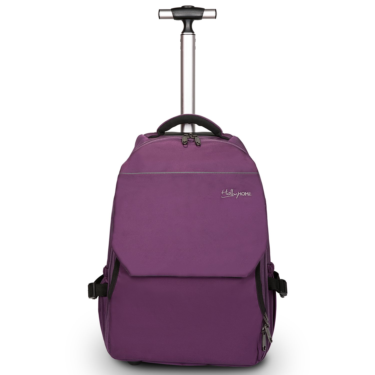 19 inches Large Storage Multifunction Waterproof Travel Wheeled Rolling Backpack by HollyHOME, Purple by HollyHOME