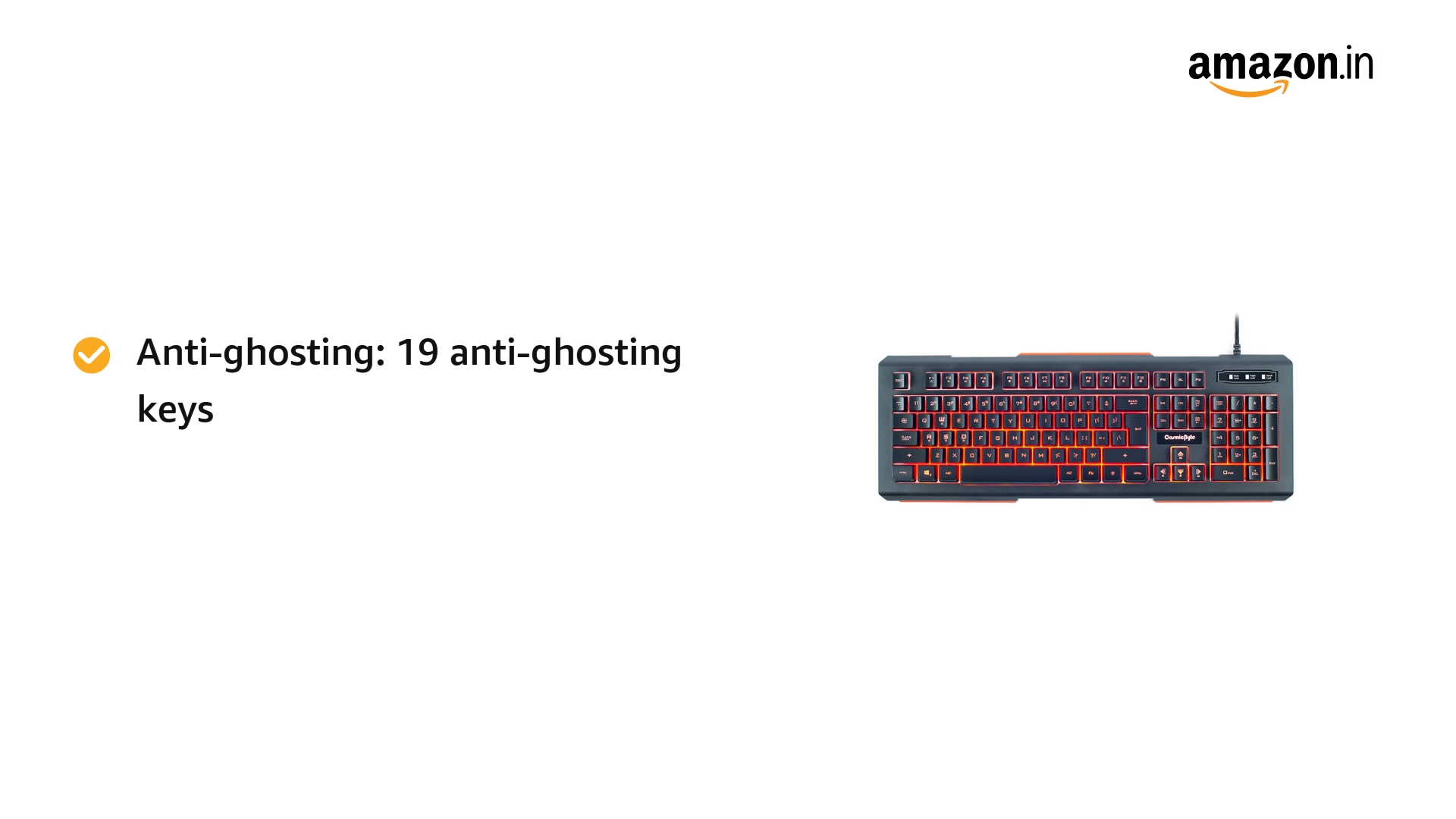 Cosmic Byte CB-GK-02 Corona Wired Gaming Keyboard, 7 Color RGB Backlit with Effects, Anti-Ghosting (Black)