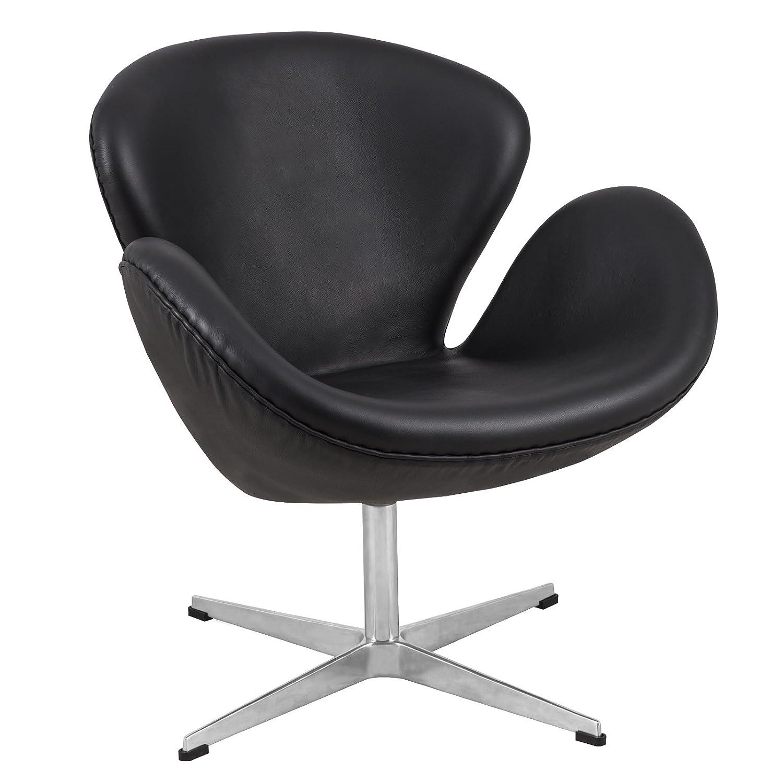 Superieur Amazon.com: LeisureMod Arne Jacobsen Style Modern Swan Accent Chair In  Black Leather: Kitchen U0026 Dining