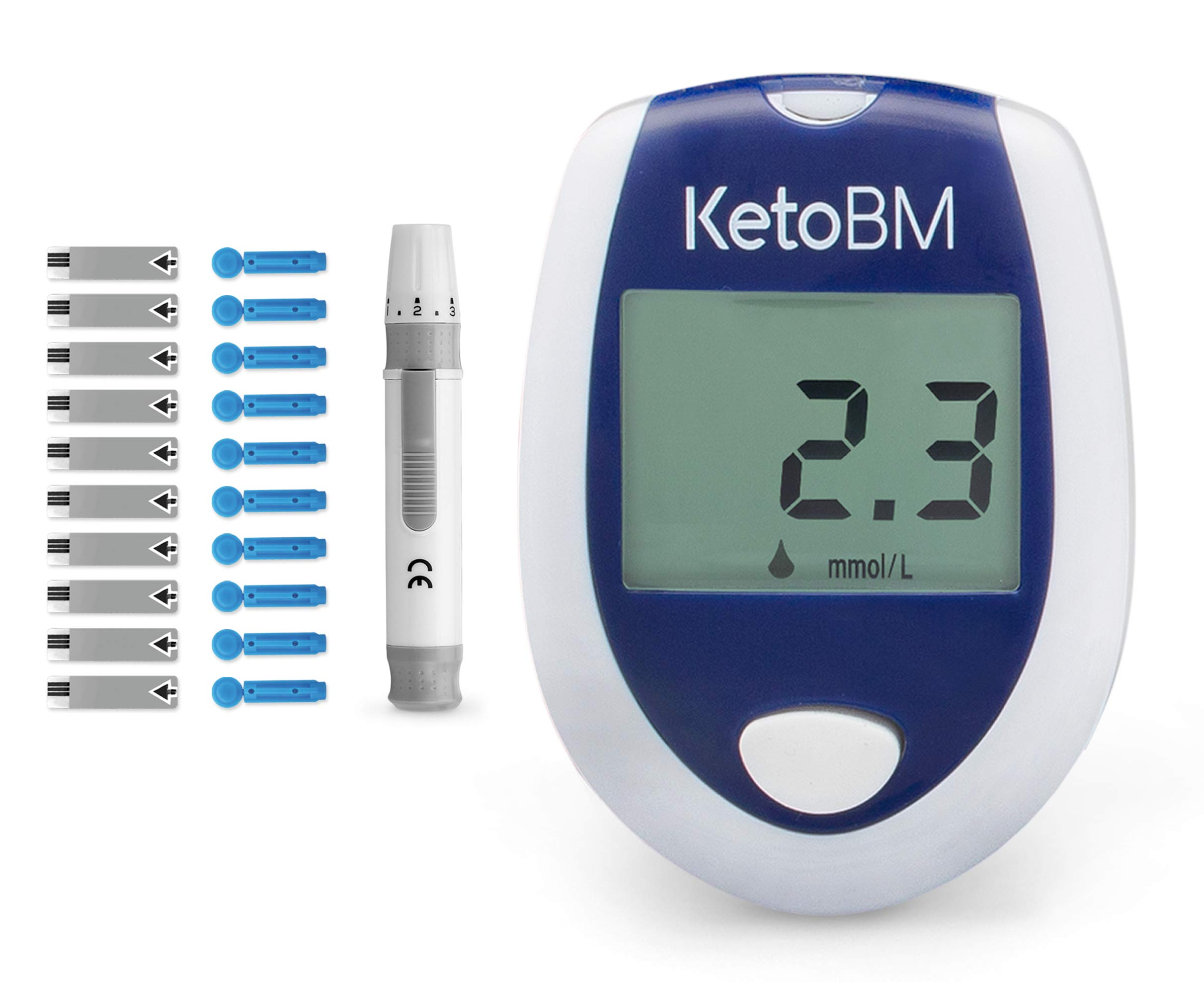 KetoBM Blood Ketone Meter Kit for Keto Diet Testing - Complete Ketone Test Kit with Ketone Monitor, Keto Strips, Lancing Device & Lancets - Easy, Accurate Way to Check Ketosis on the Ketogenic Diet