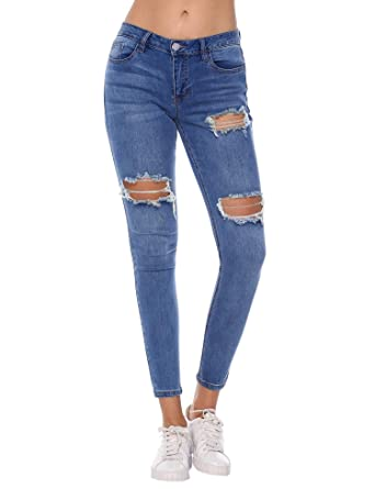 44aef12b56d Resfeber Women's Boyfriend Jeans Distressed Slim Fit Ripped Jeans Comfy  Stretch Skinny Jeans at Amazon Women's Jeans store