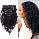 AmazingBeauty 8A Remy Brazilian Clip in Hair Extensions Kinkys curly 3C and 4A type for African Americans, Natural Color 120 gram 16 Inch for Bantu Knotted, Twisted Out