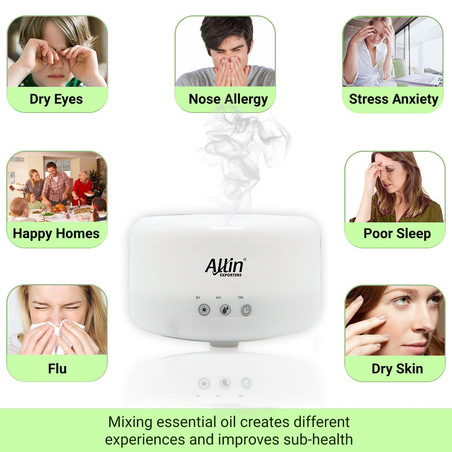 1000ml Touchpad Ultrasonic Humidifier & Essential Oil Aroma with Timer
