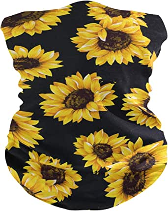 Bandana Face Mask Women Men For Dust Beautiful Sunflowers In Black Background Protective Face