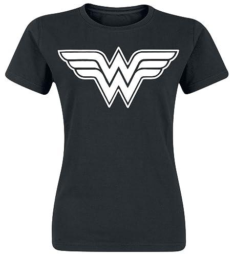 Wonder Woman Logo Maglia Donna Nero