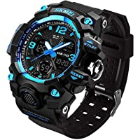 Men's Analog Sports Watch, LED Military Wrist Watch Large Dual Dial Digital Outdoor Watches Electronic Malfunction Two Timezone Back Light Water Resistant Calendar Day Date