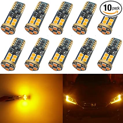 JAVR - Pack of 10 - Extremely Bright Amber/Yellow Non-Polarity 9V-18V Canbus Error Free T10 194 168 2825 W5W 3030 SMD LED Bulbs For Side Marker Lights ...