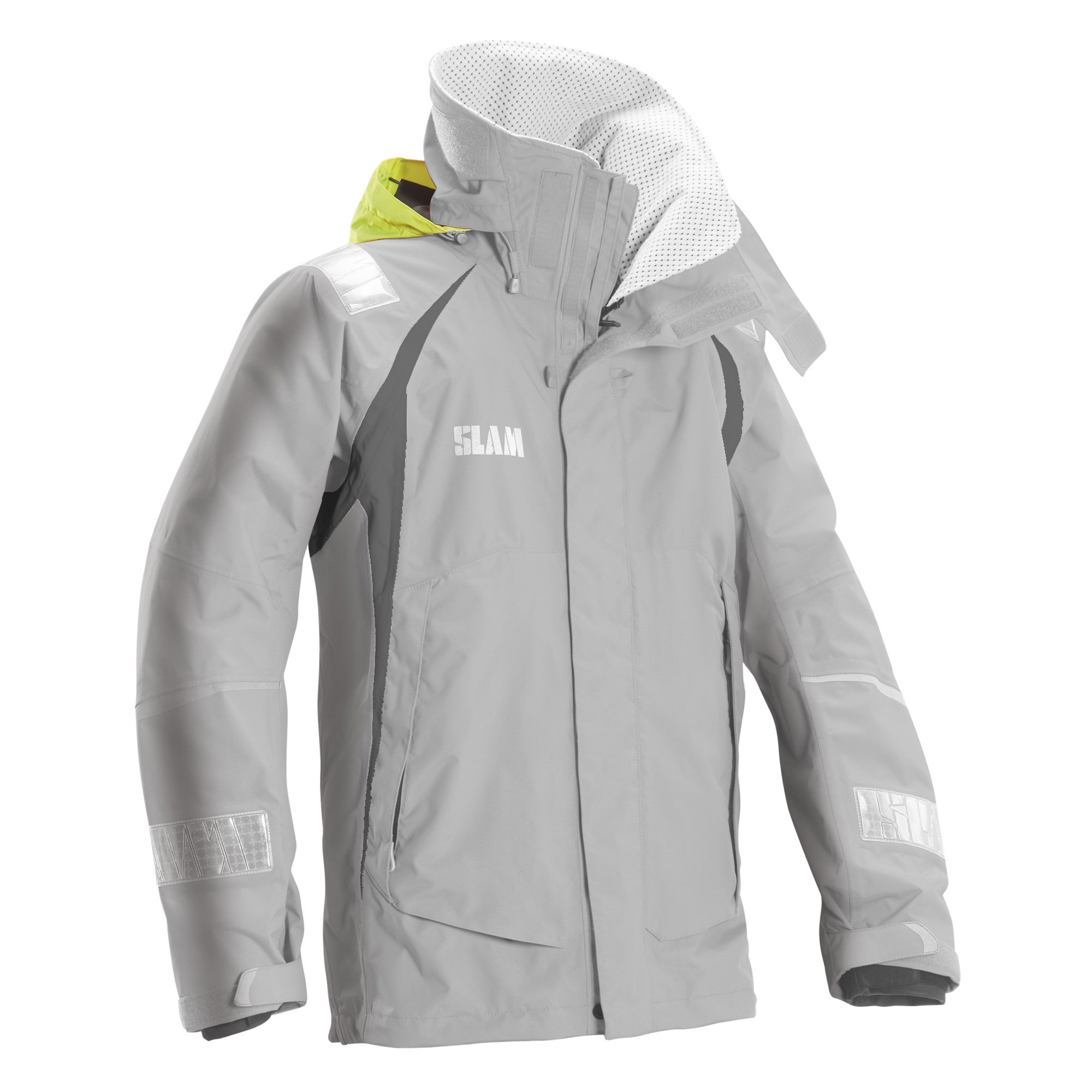 Slam Man Technical Collection Men's 160gr Nylon TUSSOR Force 3 Jacket Col.160 Perforated Fleece Collar Lined Light Grey Long Sleeve Jacket 2X-Large