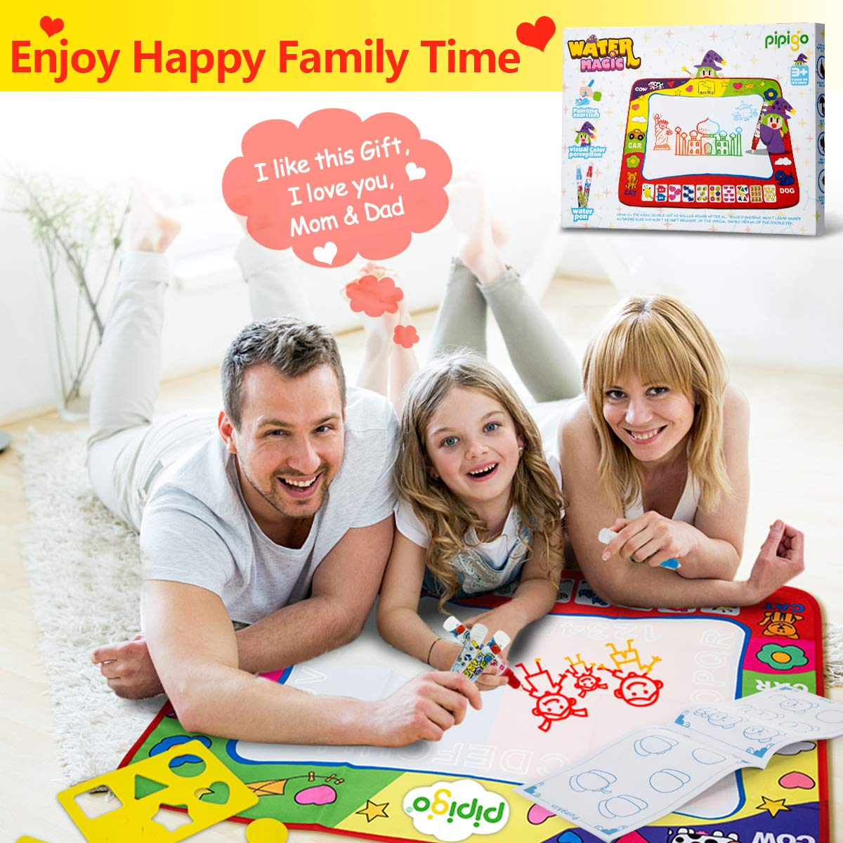 Magic Water Doodle Mats Water Drawing Mat Large 32x24in Painting Pad with 4 Pens 6 Molds Learning Educational Toddler Toys Toddler Gifts for Girls Boys Age 2 3 4 5+ Year Old Girl Gifts Boy Gifts