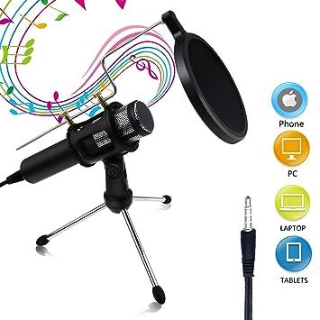 Micrófono de Condensador Buluri Micrófono de Estudio Casero Profesional con Plug & Play de 3,