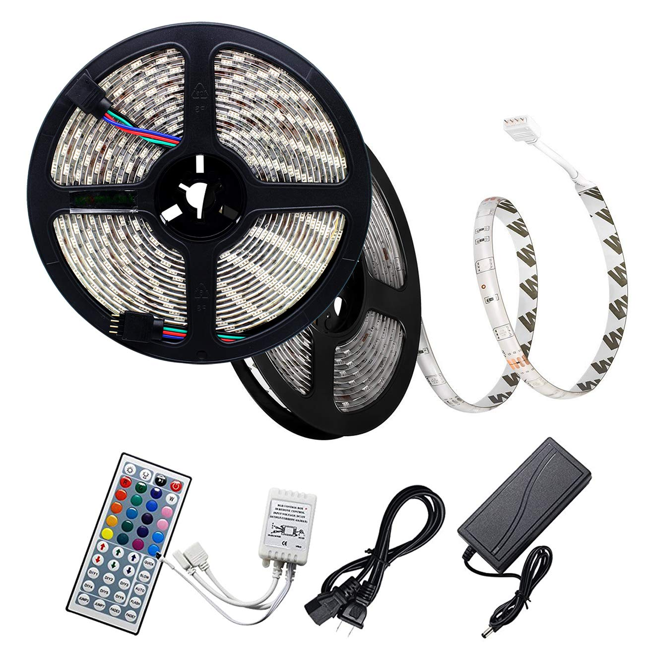 Rowrun 32.8ft/10m LED Strip Lights Color Changing 300 LED SMD 5050 DC 12V 6A Waterproof Light Strip Full Kit 44-Key RGB Remote Controller Adapter IR Control Box Indoor/Outdoor