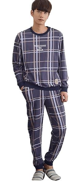 ba9ad47e37 Image Unavailable. Image not available for. Color: Mingxintech Couples  Cotton Gridding Pattern Pajama Set ...