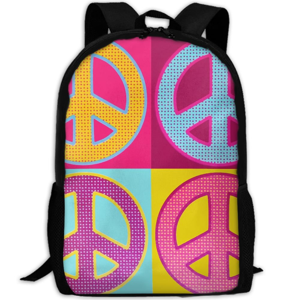 ZQBAAD Peace Love Sign Pop Luxury Print Men And Women's Travel Knapsack