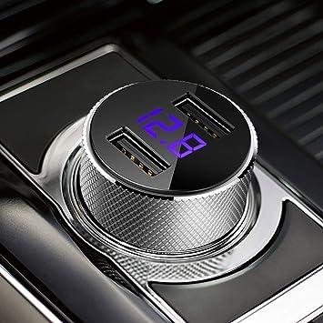 FEIGO Cargador de Coche con Doble USB Puerto Cargador Móvil 5V/3.4A/24W, Adaptador Automóvil con con voltímetro Digital LED Quick Charge para iPhone ...