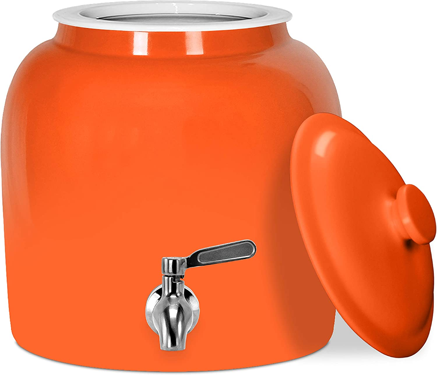 Geo Sports Porcelain Water Dispenser (Solid Color Series); Lid and Valve Included, E-Comm Shipping Ready (Solid Orange)