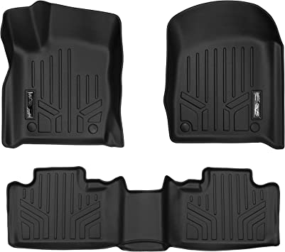 Unique Black TPE All-Weather Guard Includes 1st and 2nd Row: Front Rear Full Set Liners oEdRo Floor Mats Compatible for 2013-2014 Grand Cherokee//Dodge Durango