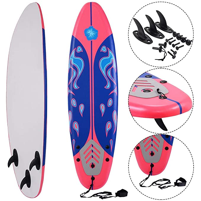 Amazon.com : Gymax 6 Feet Surfboard Beach Ocean Surfing Boards Body Boarding Youth Men Women Surf Board w/Leash Non-Slip Mat Fin Set (Red+Blue) : Sports & ...