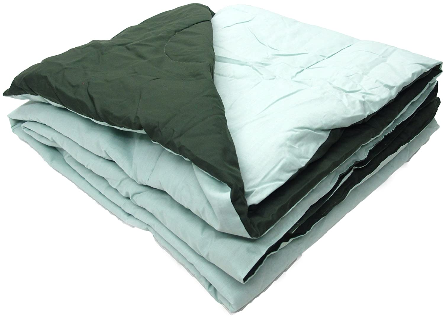 Percale Covered Comforter, Twin Size, Hunter Green - Seafoam Reversible. Non-Allergenic, Great For Camp