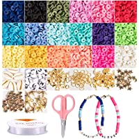 Cozywind Espaciadores de Arcilla, 4200+piezas Cuentas Coloridas Abalorios, Cuentas Planas para Bisutería Collar…