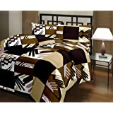 Gemshop Poly Cotton Ultra Soft Single Dohar 82x54 (Brown Checkered Reversible)