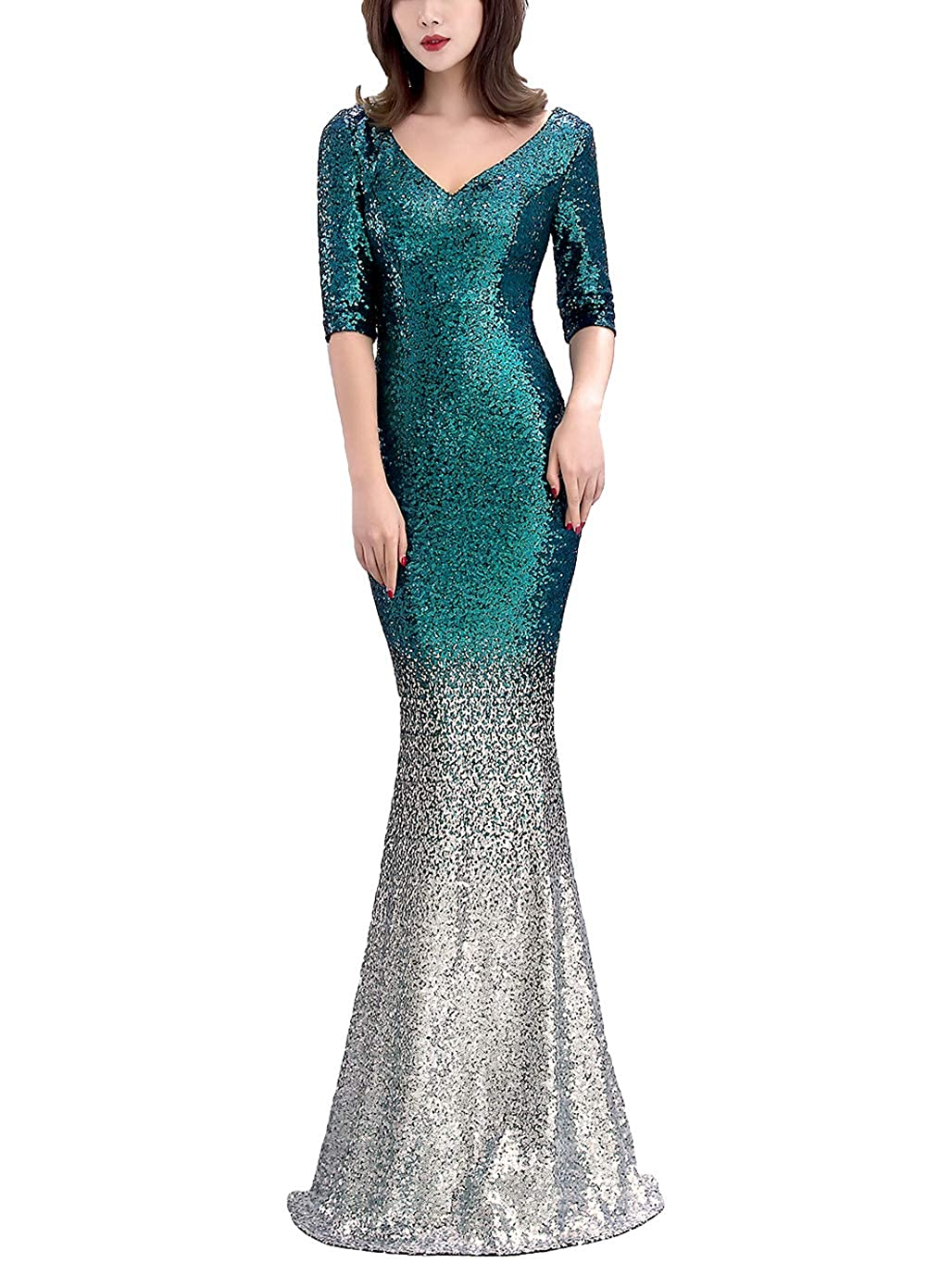 16116greensilver Chowsir Women Sexy Elegant Slim Sequin Long Cocktail Party Evening Dress