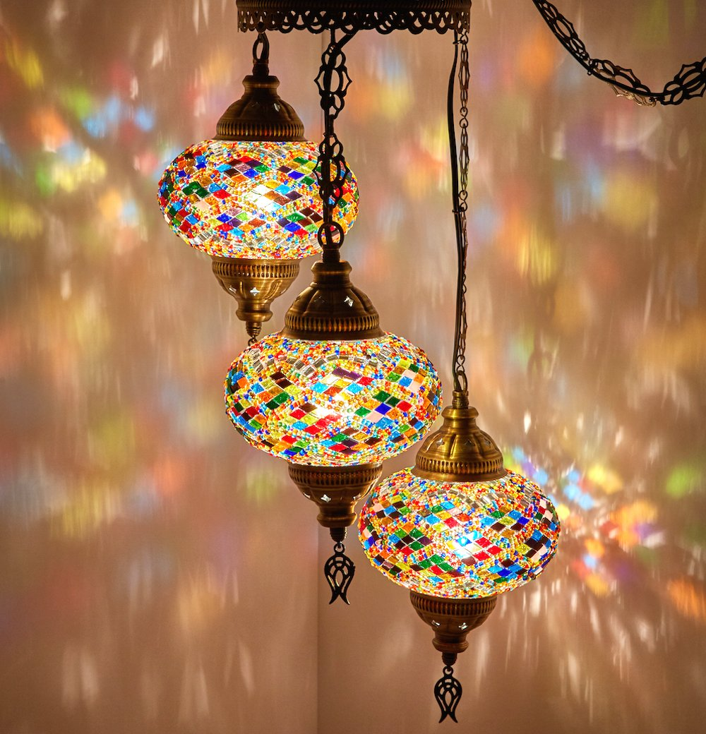 (Choose from 12 Designs) Turkish Moroccan Mosaic Glass Chandelier Lights Hanging Ceiling Lamps (Medium - 3)