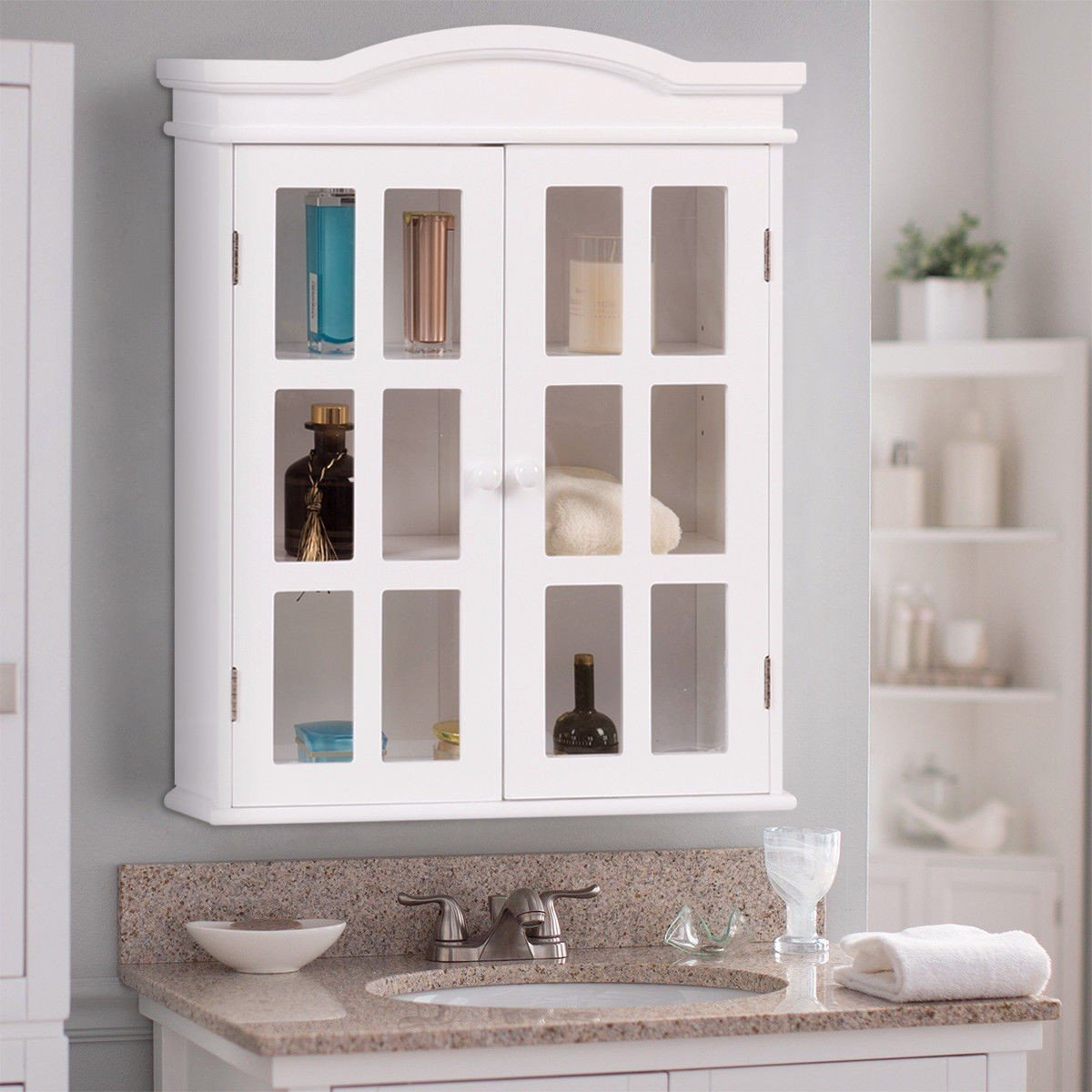 WATERJOY Storage Cabinet, Wall-Mounted Bathroom Cabinet with Doors, Bathroom Fashions Cabinet Cupboard with White Finish and Elegant Design, Great Home Furniture, Elegant White