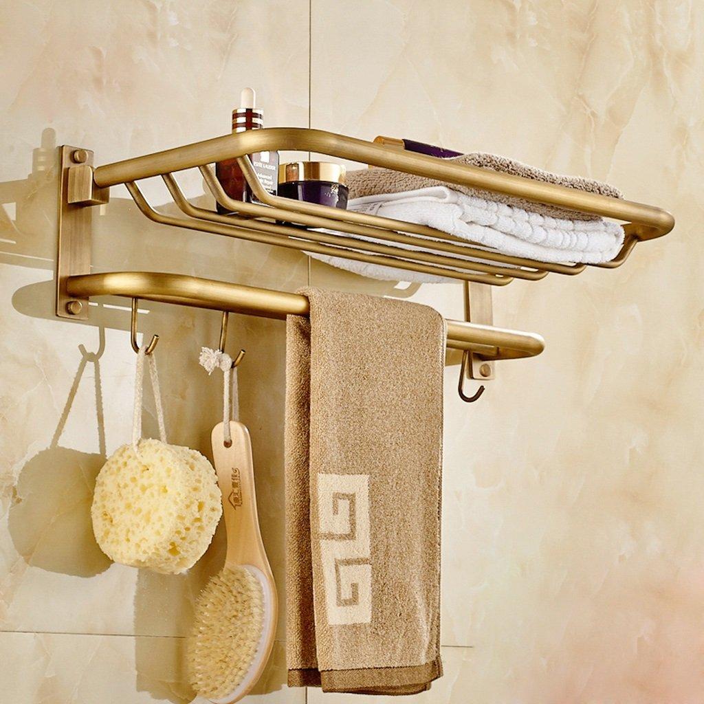 エッジへ ヨーロッパのすべての銅タオルラックアンティーク折りたたみフックタオルラック浴室のタオルラック吊り部屋 B07F2PB4WH