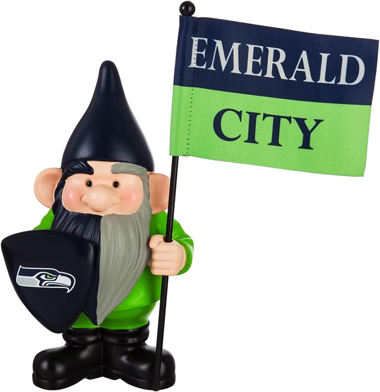 "Evergreen Enterprises, Inc. Seahawks 10"" Garden Gnome Flag Holder Outdoor Statue Decoration Football"