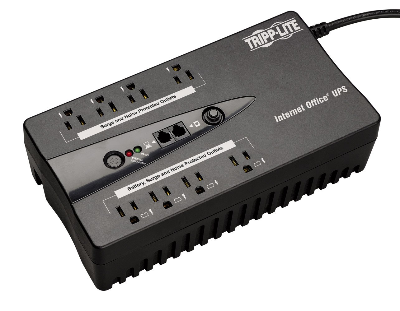 Tripp Lite INTERNET550SER 550VA 300W UPS Desktop Battery Back Up Compact 120V DB9 RJ11 PC, 8 Outlets