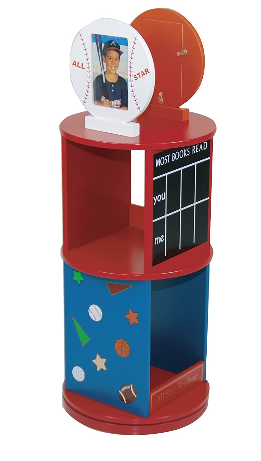 Levels Of Discovery All Star Sports Revolving Bookcase Red/Multi by Levels of Discovery