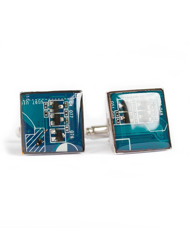 Manschettenknopf Quadrat Blau circuit board Recycled Shaltungsplatine
