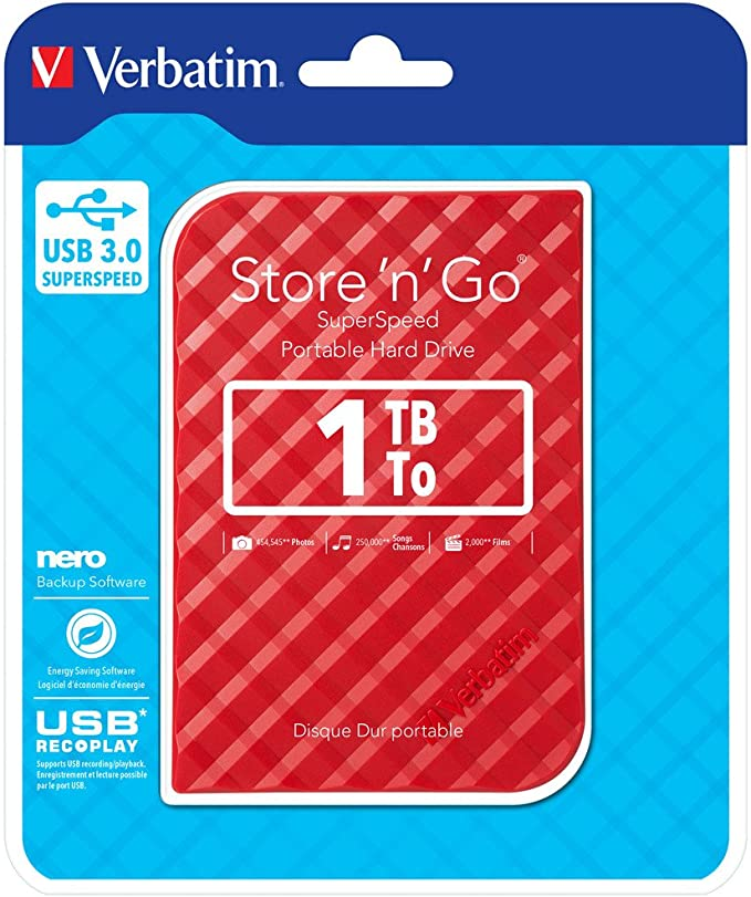 Verbatim Store N Go Portable Hard Drive I 1 Tb I Rot Computer Zubehör