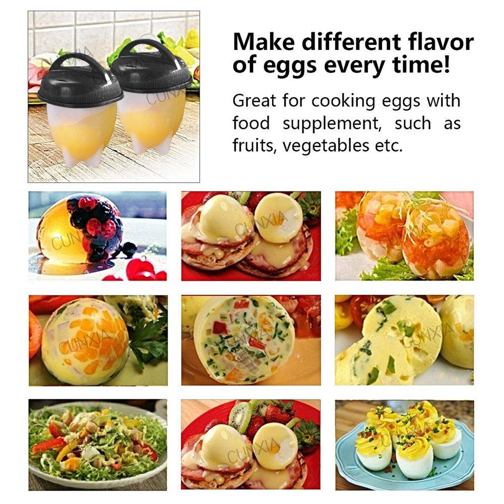 6 Pcs Egglettes Egg Cooker - Hervidor de Huevos Silicona Antiadherente Sin BPA / Aprobado por la FDA / Aptas para el Lavavajillas con Separador de Huevo: ...