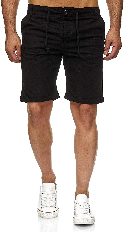 de tela Reslad RS-3002 para el tiempo libre para la playa Pantalones cortos de lino para hombre