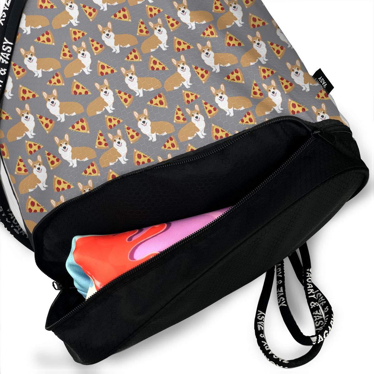 HUOPR5Q Corgi Pizza Grey Drawstring Backpack Sport Gym Sack Shoulder Bulk Bag Dance Bag for School Travel