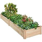 AMERLIFE Raised Garden Bed 8x2 FT Wood Raised Garden Bed Kit Wooden Planting Bed Solid Wood for Vegetable Flower Herb Outdoor
