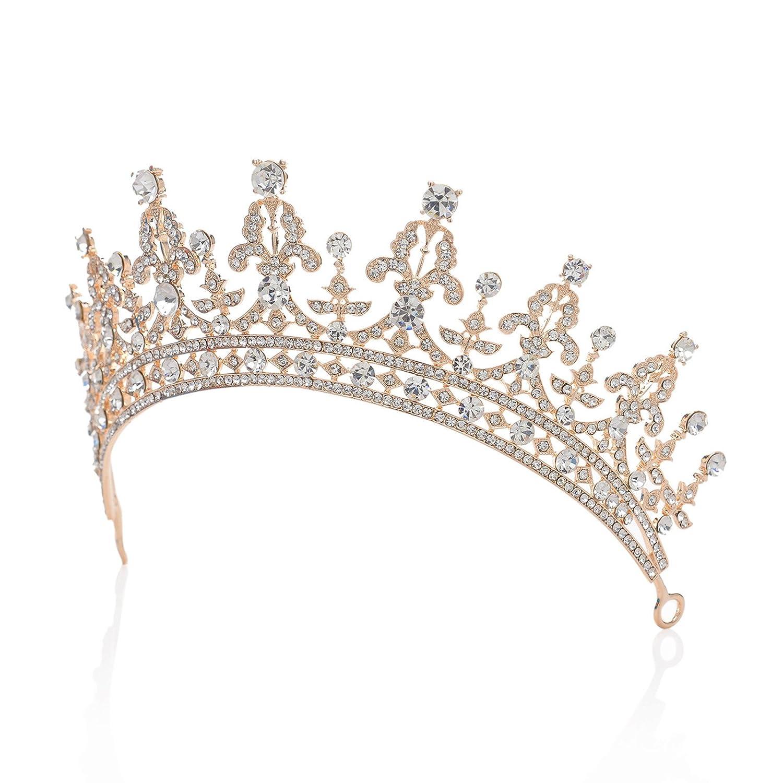 Or+Rubis SWEETV Magnifique Cristal Couronne Diad/ème Accessoire de Costume Bijoux /à cheveux pour Mariage Soir/ée F/ête