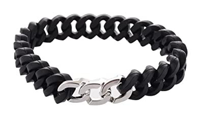38774157eba50c Image Unavailable. Image not available for. Colour: Trendy ARISIDH genuine 92.5  Pure sterling silver black rubber bracelet kada for men ...