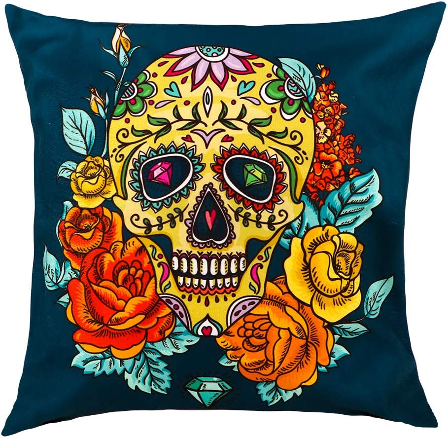 """WaaHome Day of The Dead Throw Pillow Cover Dia De Los Muertos Decorations 18""""X18"""" Cotton Linen Day of The Dead Sugar Skull Pillow Cushion Cover Case"""