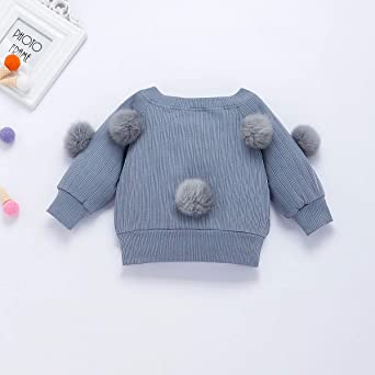 VISGOGO Toddler Kid Baby Girl Long Sleeve Girls Hairball Knit Sweater+Skirt Dress 2PCS Outfit Clothes